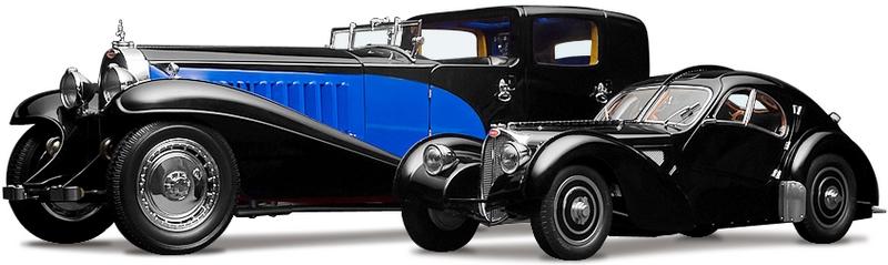 Полный каталог автомобилей Bugatti на белом фоне.