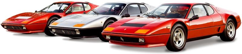 Каталог автомобилей Ferrari на белом фоне.