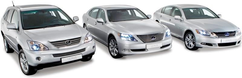 Каталог автомобилей Лексус на белом фоне.