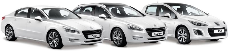 Каталог автомобилей Пежо на белом фоне.