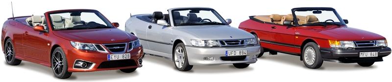 Каталог автомобилей Saab на белом фоне.