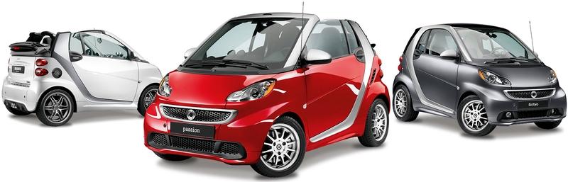 Каталог автомобилей Smart на белом фоне.