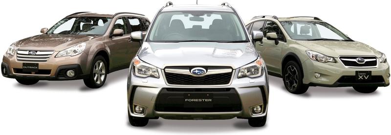 Каталог автомобилей Subaru на белом фоне.