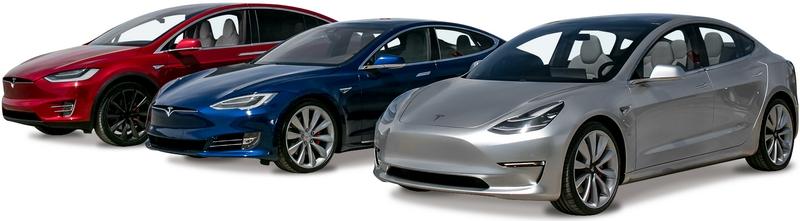 Каталог автомобилей Tesla на белом фоне.